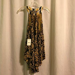 Free People black and gold halter top